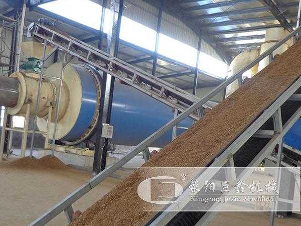 西安时产60-100吨锯末烘干机用户现场视频案例
