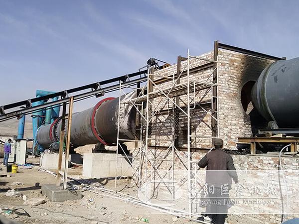 新疆三道岭时产30吨粉煤灰烘干机用户现场