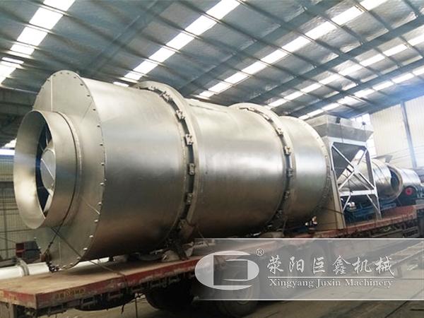 时产30-50吨石英砂不锈钢烘干机发往湖南